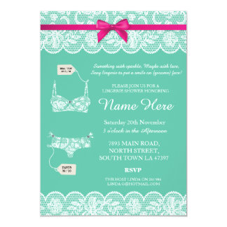 Lingerie Shower Bridal Party Lace Bow Invitation