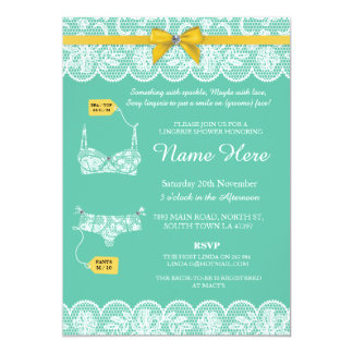 Lingerie Shower Bridal Party Lace Gold Bow Invite