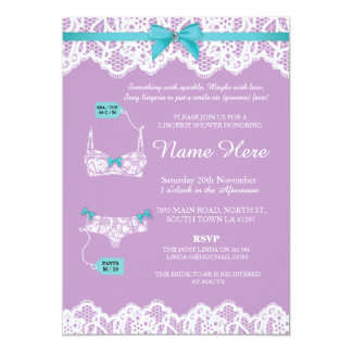 Lingerie Shower Bridal Party Lace Pink Bow Invite