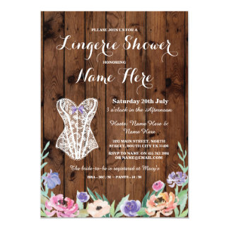 Lingerie Shower Bridal Party Wood Floral Invite