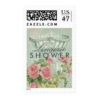 Lingerie Shower Elegant Corset Vintage Pink Roses Postage