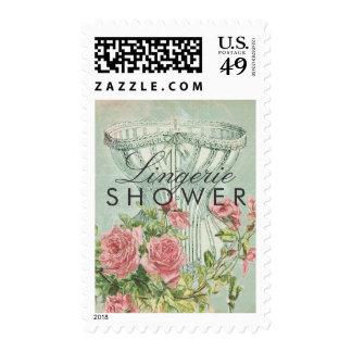 Lingerie Shower Elegant Corset Vintage Pink Roses Stamps