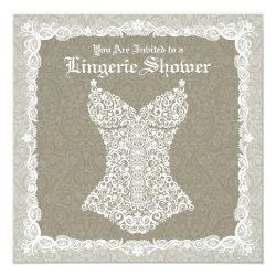 Lingerie Shower Invitation - Antique