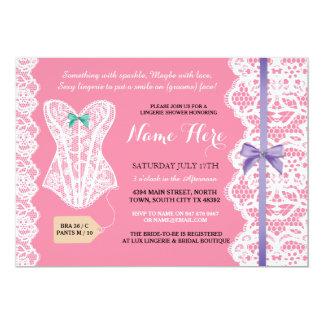 Lingerie Shower Invitation Pink Bridal Party Lace