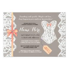 Lingerie Shower Invite Coral Bridal Party Lace at Zazzle