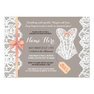Lingerie bridal shower invitations zazzle lingerie shower invite coral bridal party lace filmwisefo