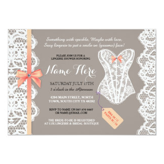 Lingerie Shower Invite Coral Bridal Party Lace