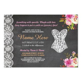 Lingerie Shower Invite Floral Bridal Party Lace