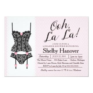 Lingerie Shower Invite, Ooh La Black & Pink Lace Card