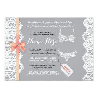 Lingerie Shower Invite Peach Bridal Party Lace