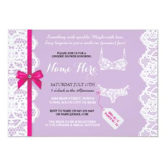 Lingerie Shower Invite Purple Bridal Party Lace