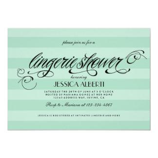 "Lingerie Shower Mint Green and Black Invitation 5"" X 7"" Invitation Card"
