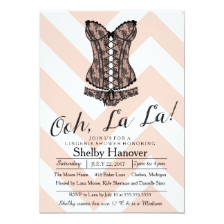 Lingerie Shower, ooh la | pink chevron black lace Card