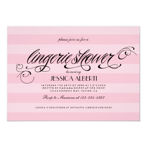Lingerie Shower Pink and Black Invitation Template