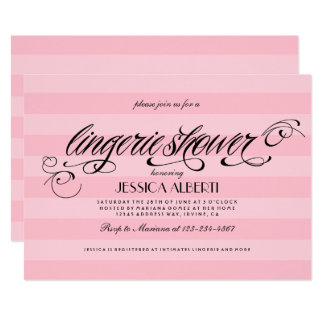 Lingerie Shower Pink Stripes and Black Accents Card