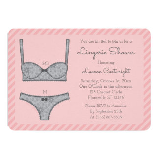 lingerie shower pink stripes with grey invitation