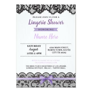 Lingerie Shower Purple Bow Invitation Black Lace