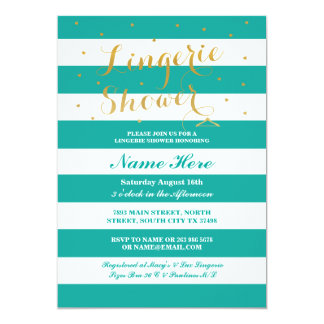 Lingerie Shower Stripe Teal Gold Party Invite