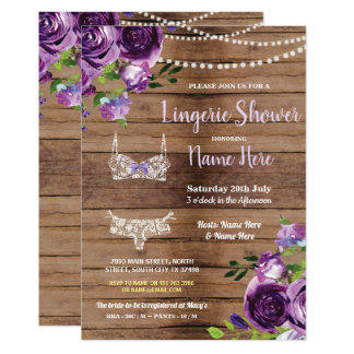 Lingerie Shower Wood Purple Flowers Invitation