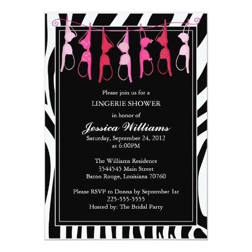 Lingerie Shower | Zebra 5x7 Paper Invitation Card