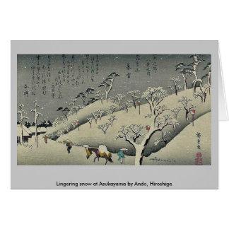 Lingering snow at Asukayama by Ando, Hiroshige Greeting Card