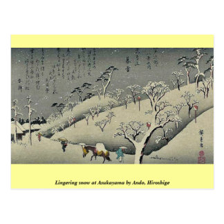 Lingering snow at Asukayama by Ando, Hiroshige Postcard