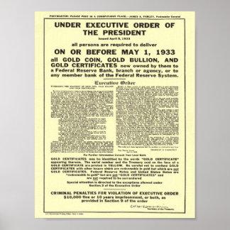 Lingote de prohibición de la moneda de oro del dec póster