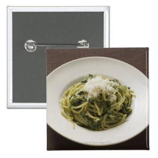 Linguine with pesto and Parmesan Button