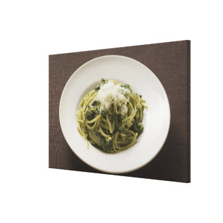 Linguine with pesto and Parmesan Canvas Print