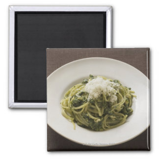 Linguine with pesto and Parmesan Magnet
