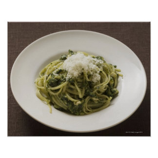 Linguine with pesto and Parmesan Poster
