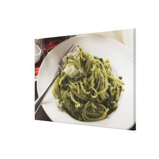 Linguine with pesto and Parmesan, red wine Canvas Print