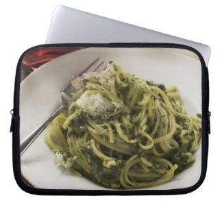 Linguine with pesto and Parmesan, red wine Computer Sleeve