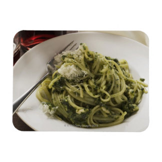 Linguine with pesto and Parmesan, red wine Magnet