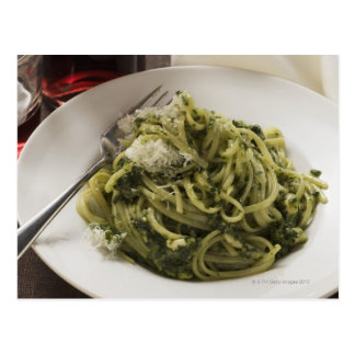 Linguine with pesto and Parmesan, red wine Postcard