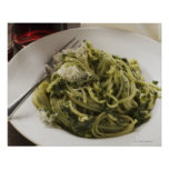 Linguine with pesto and Parmesan, red wine Poster