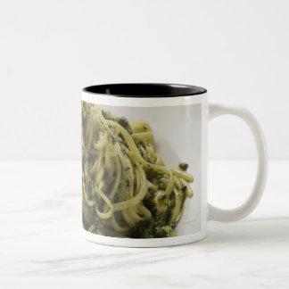 Linguine with pesto and Parmesan, red wine Two-Tone Coffee Mug