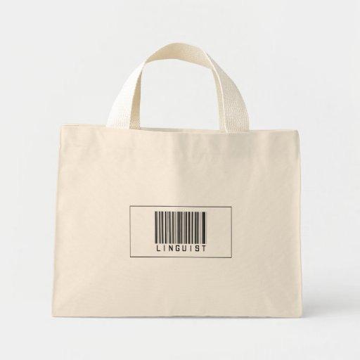 Lingüista del código de barras bolsas lienzo
