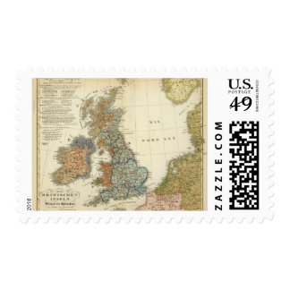 Linguistic map of British Isles Postage
