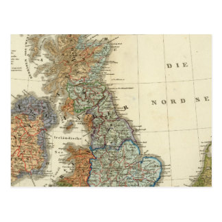 Linguistic map of British Isles Postcard