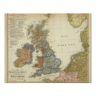 Linguistic map of British Isles Posters