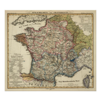 Linguistic map of France Poster