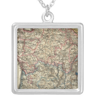 Linguistic map of France Silver Plated Necklace