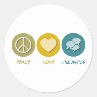 Lingüística del amor de la paz pegatina redonda