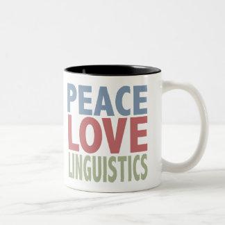 Lingüística del amor de la paz taza de café