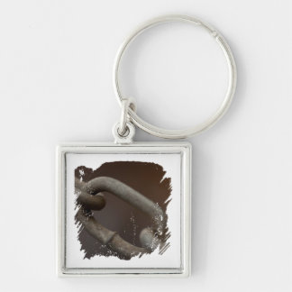 Link in the Chain Silver-Colored Square Keychain