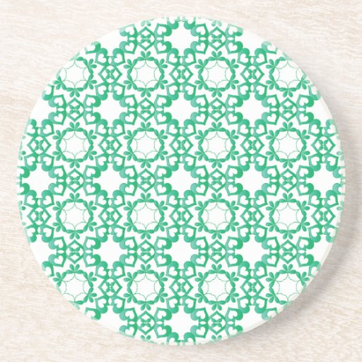 Linked by Love Green Heart Pattern Coaster