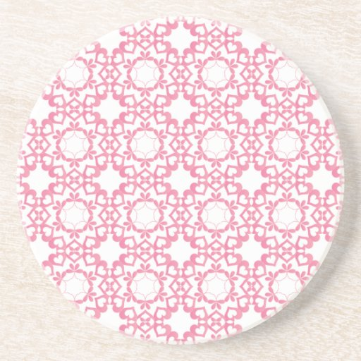 Linked by Love Pink Heart Pattern Coaster