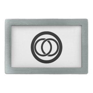 Linked circles in circle rectangular belt buckle