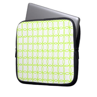 Linked circles in green laptop computer sleeves